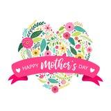 Blüht nette der Herzform der Weinlese Hand gezeichnete rustikale Feder mit Handschriftlicher Text glücklichem Mutter ` s Tag lizenzfreie abbildung