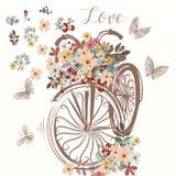 Blüht nette Hand gezeichnetes Fahrrad mit Bündel des Frühlinges lizenzfreie abbildung