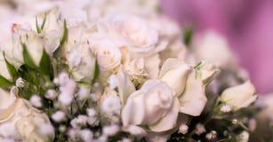 Blüht Rosenblumenstrauß von weißen Rosen Stockfoto