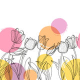 Blüht Schwarzweiss-Hand gezeichnete Tulpe und Aquarell befleckt lizenzfreie abbildung