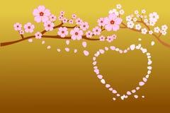 Blüten der vollen Blüte Kirschund Schlag-/Fliegenblumenblätter im Herzen formen; auf Steigungsgoldhintergrund Vektorillustration  stock abbildung