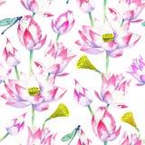 Blüten und Blumen des nahtlosen Musters des Lotosaquarells stock abbildung
