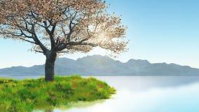 Blütenbaum der Kirsche 3D auf grasartiger Bank gegen Berglandschaft Lizenzfreie Stockfotografie