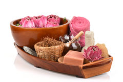 Blütenstaub Lotus, Lotus Flower und Seife, handgemachte Seifenbadekurortblume von Thailand Lizenzfreies Stockfoto