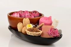 Blütenstaub Lotus, Lotus Flower und Seife, handgemachte Seifenbadekurortblume von Thailand Stockfotografie
