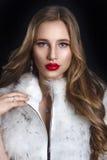 豪华皮大衣的冬天妇女 秀丽Bl的时装模特儿女孩 免版税库存照片