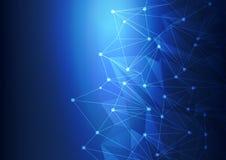 Blå abstrakt teknologi Mesh Background med cirklar, vektorillustration Royaltyfri Fotografi