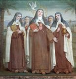Carmelite Saints. Bl. Anne of Jesus, Saint Teresa of Avila and Bl. Anne of St. Bartholomew, Carmelite Saints, The Church Stella Maris, Haifa, Israel royalty free stock photo