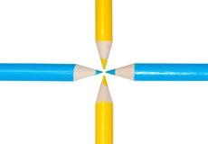 blå blyertspennayellow Fotografering för Bildbyråer