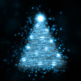blå glödande tree Fotografering för Bildbyråer