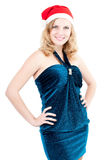 blå isolerat kvinnabarn för jul påklädd Fotografering för Bildbyråer