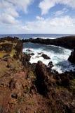 blå linje stenig sky för kusteaster ö under Royaltyfria Bilder
