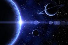 blått nebulaplanet tre Arkivfoton