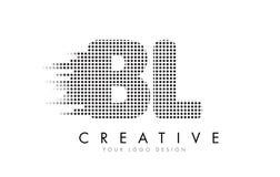 BL B L与黑小点和足迹的信件商标 库存照片
