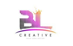 BL B L信件与洋红色小点和Swoosh的商标设计 图库摄影