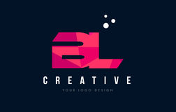 BL b l логотип письма с фиолетовой низкой поли розовой концепцией треугольников Стоковое фото RF