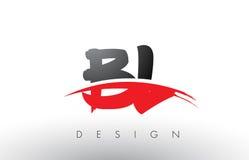 BL B L Borstel Logo Letters met Rode en Zwarte Swoosh-Borstelvoorzijde Stock Fotografie