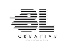 BL B L Gestreepte Brief Logo Design met Zwart-witte Strepen Stock Foto's