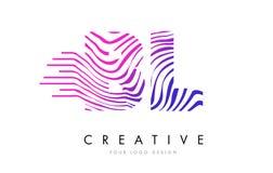 BL B L Gestreepte Lijnenbrief Logo Design met Magenta Kleuren Stock Foto's