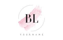 BL B L lettera Logo Design dell'acquerello con il modello circolare della spazzola Fotografia Stock Libera da Diritti