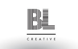 BL B L linhas preto e branco letra Logo Design Foto de Stock Royalty Free