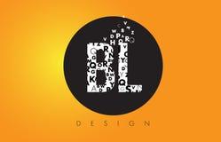 BL B L Logo Made av små bokstäver med svart cirkel och guling B Fotografering för Bildbyråer