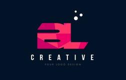 BL B L logotipo da letra com baixo conceito cor-de-rosa poli roxo dos triângulos Foto de Stock Royalty Free