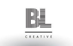 BL B L svartvita linjer bokstav Logo Design Royaltyfri Foto