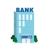 Blå bankbyggnad för symbol Royaltyfri Foto