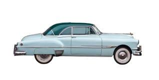 blå bil isolerat ljust retro Royaltyfria Bilder