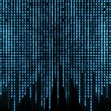 Blå binär ström på skärmen Arkivbild