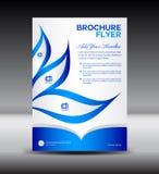 Blå broschyrreklambladmall, informationsbladdesign, broschyrmall Arkivbild