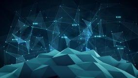 Blå futuristisk nätverksform abstrakt begrepp 3d framför Arkivfoton