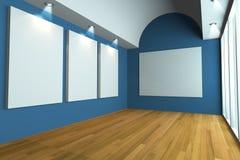 blå galleribildvägg Arkivfoton