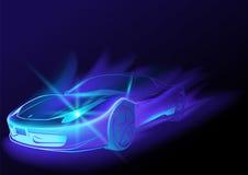 Blå glödande bil Arkivfoto