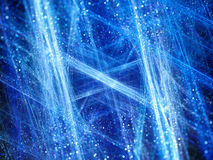 Blå glödande vinterfractal med partiklar Royaltyfria Foton