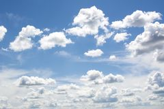Bl? himmel och moln himmel, himmelbakgrund med mycket sm? moln arkivbilder