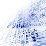 Blå illustration för bakgrund för abstrakt begrepp för strömkretsbräde Arkivbilder