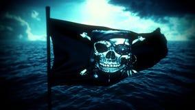 Bl?a Jolly Roger Pirate Ship Flag Intro Logo Motion Background stock illustrationer