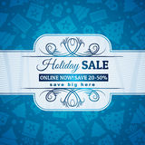 Blå jul bakgrund och etikett med försäljningsoffe Royaltyfri Foto