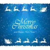 Blå julbakgrund med jultomten och renar Arkivfoto