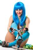 blå klänningwig Royaltyfria Foton