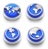 blå knappsymbolsvärld Royaltyfria Bilder