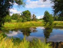 blå lake Arkivbild