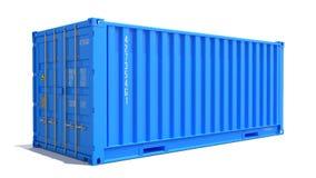 Blå lastbehållare som isoleras på vit Arkivbilder