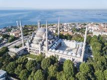 Bl? mosk? Sultanahmet i Istanbul, Turkiet arkivfoto