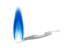 Blå naturgasflamma som gjuter en skugga för dollartecken Royaltyfri Fotografi