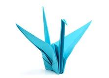 Blå origamifågel Royaltyfria Bilder