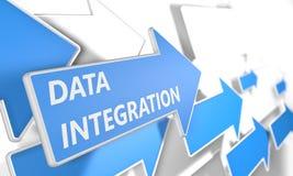 Blå pil med slogan för dataintegration på en grå bakgrund Royaltyfri Fotografi