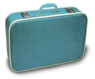 blå resväska Arkivfoto